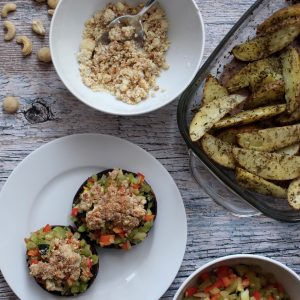 Vegan veganistisch recept Gevulde portobello seizoensgroenten september