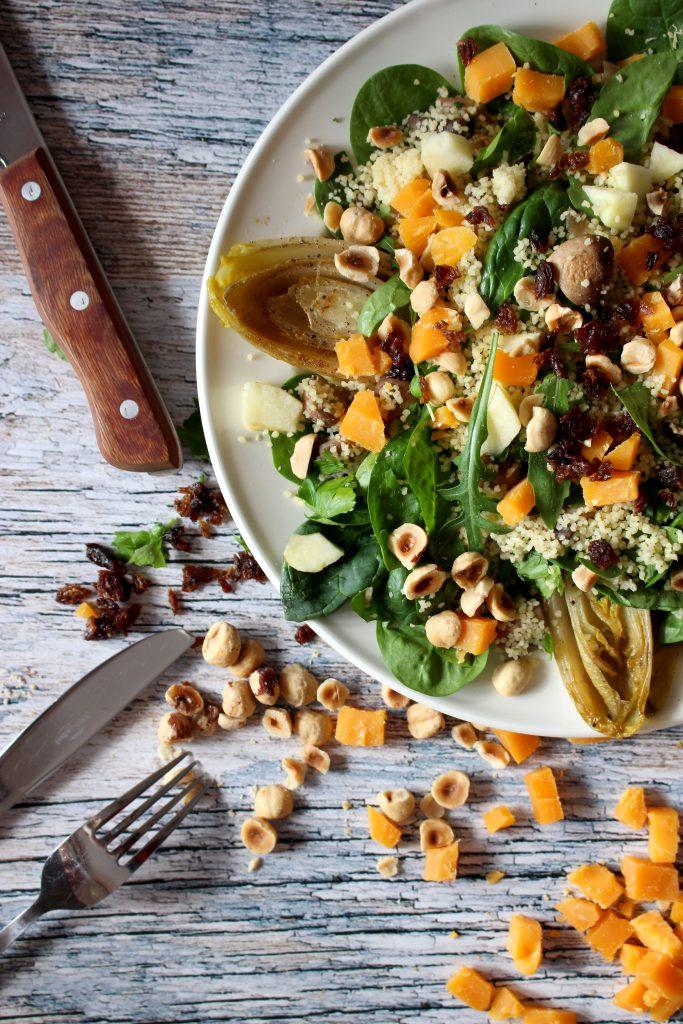 vegetarische recepten salade gebakken witloof seizoensgroenten maart