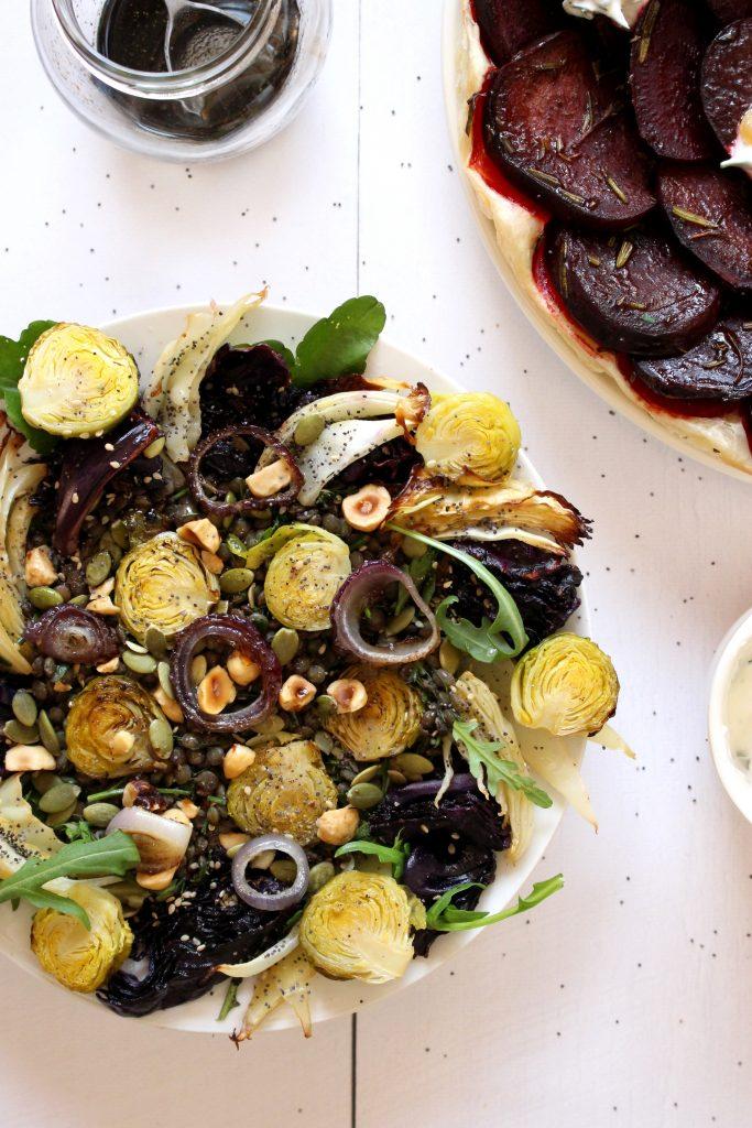 vegetarisch recept tarte tatin rode biet linzensalade kool