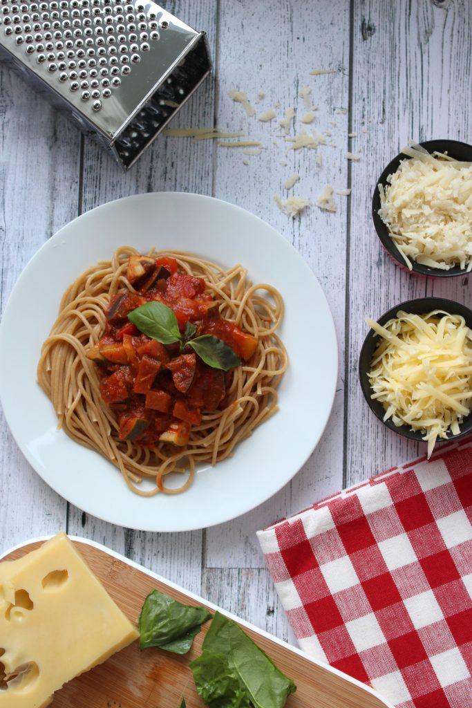 vegetarische pasta recept seizoensgroenten mei