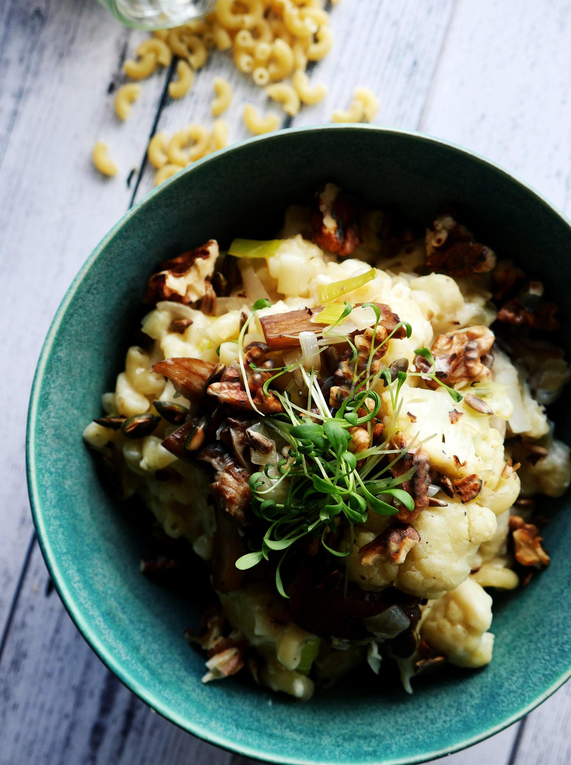 vegetarische macaroni bloemkool prei bechamelsaus oesterzwammen seizoensgroenten september