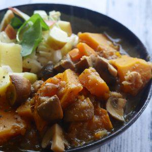 veganistisch recept vegan stoverij pompoen seizoensgroenten oktober