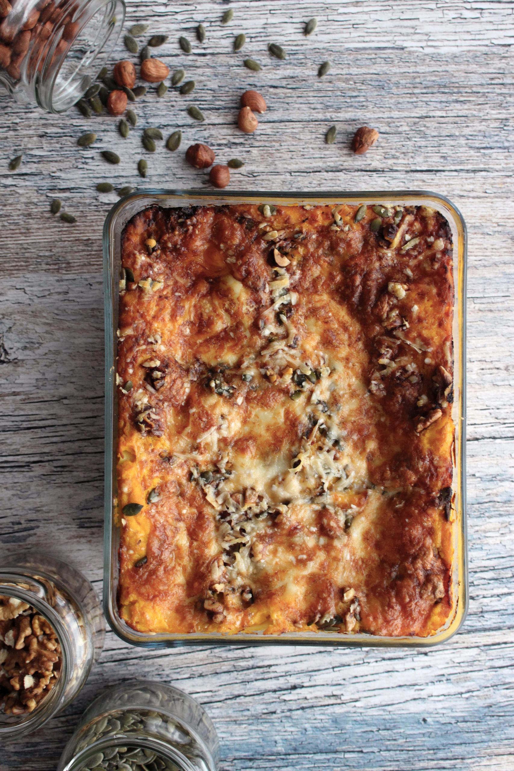 recept vegetarische pompoenlasagne seizoensgroenten november